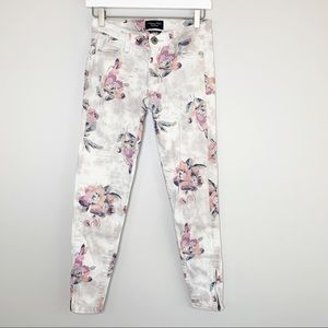 American Eagle Floral Print Skinny Jeans